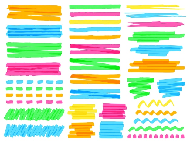 Linhas coloridas de marcador de destaque