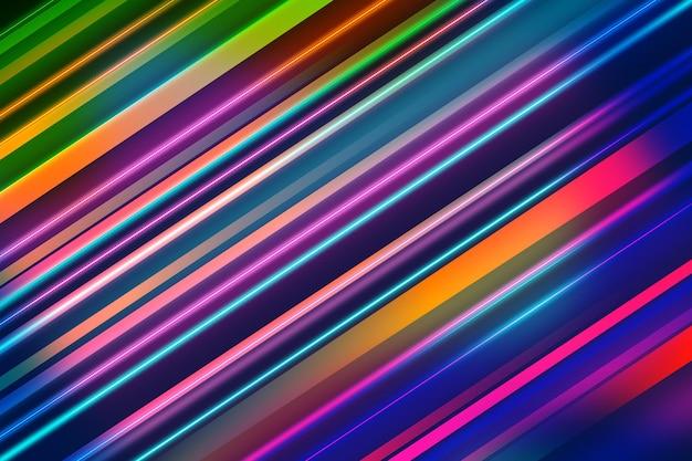 Linhas coloridas oblíquas abstraem fundo de luzes de néon