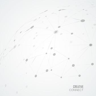 Linhas compostas e pontos, fundo de ciência conectado