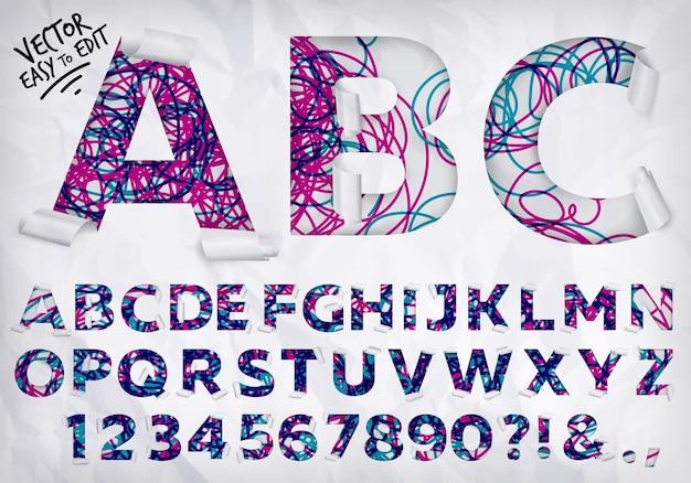 Linhas de alfabeto embrulhado