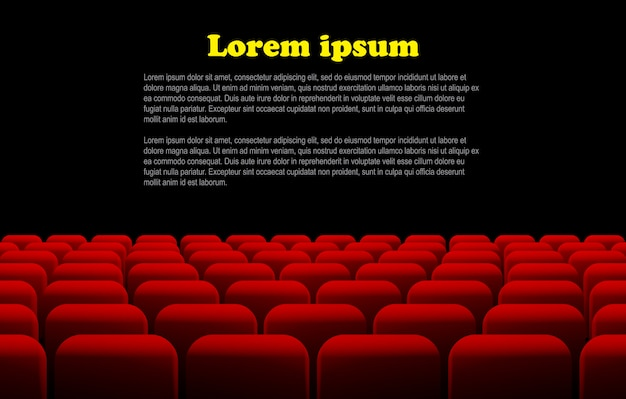 Linhas de assentos vermelhos de cinema ou teatro