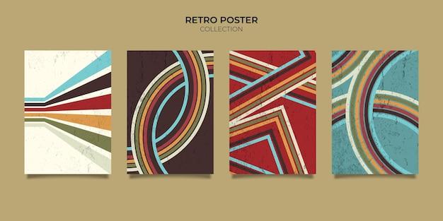 Linhas de cartaz de fundo de listras de estilo retro vintage dos anos 70. formas vetoriais design gráfico fundo retro dos anos 1970. moldura de linha da era dos anos 70 com estilo abstrato