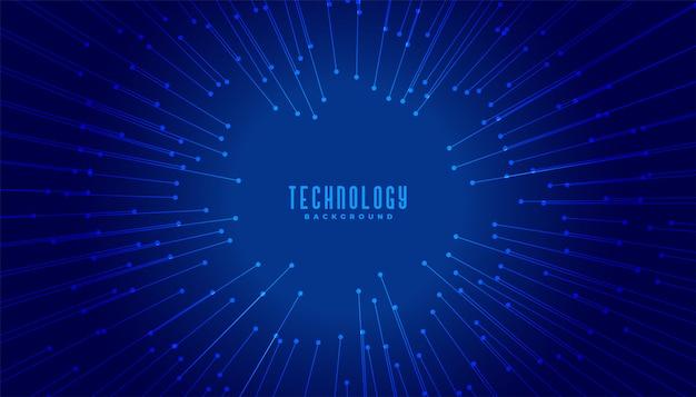 Linhas de conceito de big data de tecnologia com foco no centro