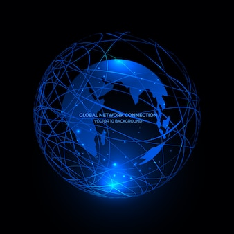 Linhas de conexão em torno do fundo do globo terra, tecnologia de comunicação para negócios na internet.