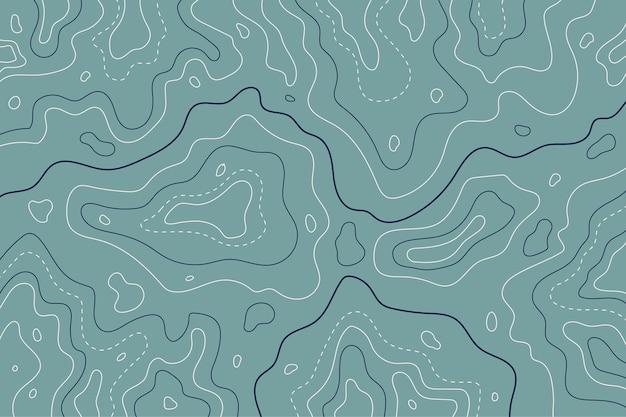 Linhas de contorno do mapa topográfico em tons de azul