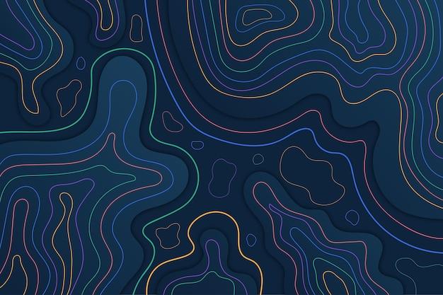 Linhas de contorno do mapa topográfico em tons de noite escuros