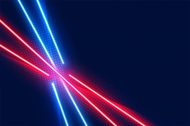 Linhas de efeito de luz led neon nas cores azul e vermelho