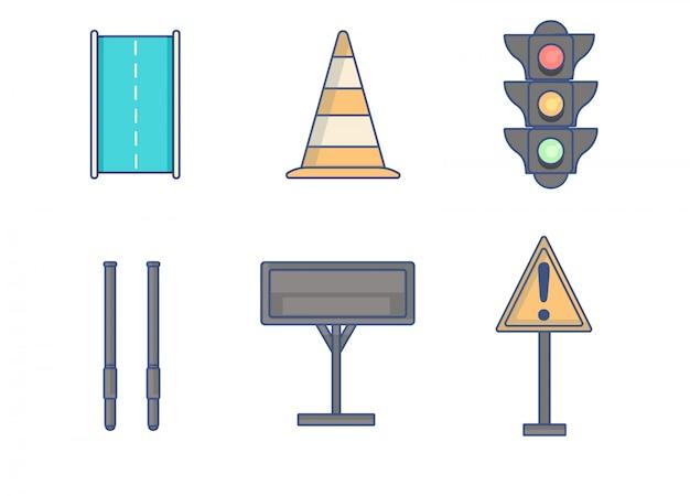 Linhas de elementos de regras de tráfego de ícone