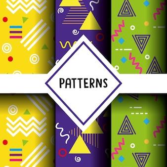 Linhas de figuras e padrões de cores configuradas