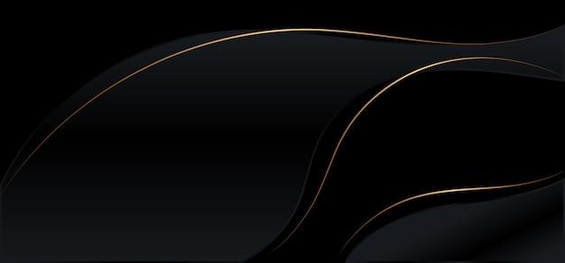 Linhas de fios de ouro preto brilhante de fundo abstrato