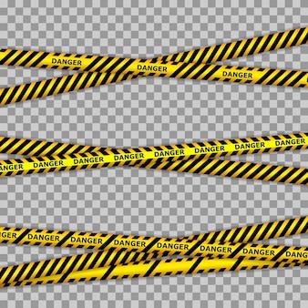 Linhas de fita de perigo e polícia para zonas de restrição e perigosas. linha policial e não cruze