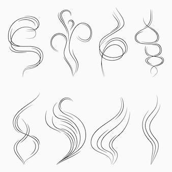 Linhas de fluxo de fumaça e vapor sinal abstrato de cheiro e aroma fumaça de cigarro ou fluxo de vapor