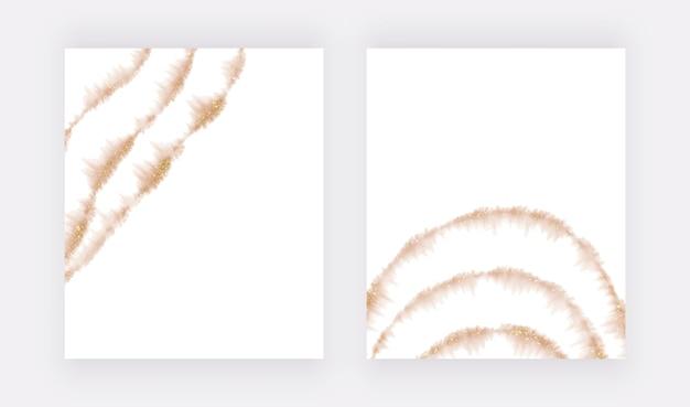 Linhas de glitter em aquarela de ouro rosa pincelada
