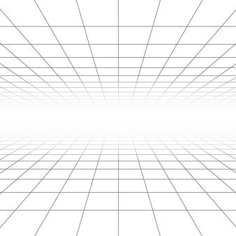 Linhas de grade de perspectiva de teto e piso, wireframe de arquitetura