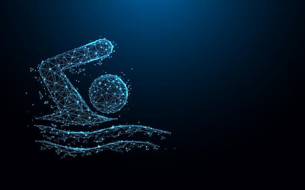 Linhas de ícone de natação e design de estilo de partícula.