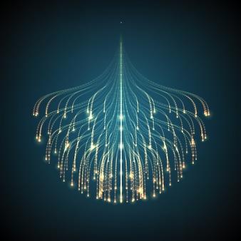 Linhas de incandescência abstratas fundo da malha. bioluminescência de tentáculos. cartão de estilo futurista.