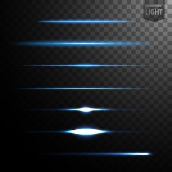 Linhas de luz azuis abstratas isoladas em fundo transparente