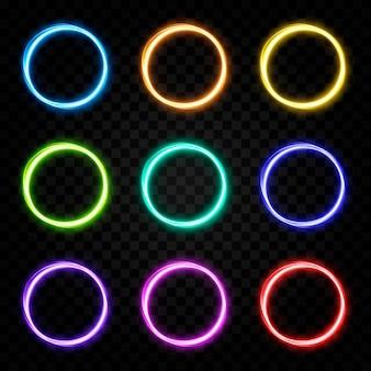 Linhas de luz de portal brilhantes de vetor luz néon luz elétrica efeito de luz de portal png multicolor
