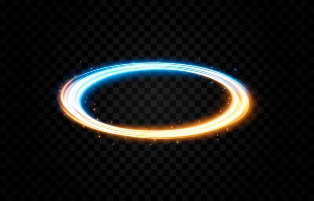 Linhas de luz de portal brilhantes de vetor luz néon luz elétrica efeito de luz de portal png