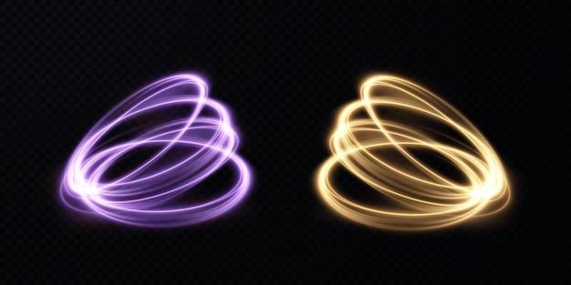 Linhas de luz de vetor abstrato girando em uma espiral