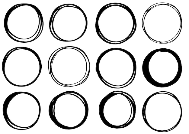 Linhas de mão desenhada rabisco círculo isoladas