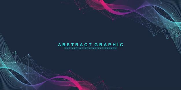 Linhas de movimento dinâmico abstrato e fundo de pontos com partículas coloridas. fundo de streaming digital, fluxo de ondas. fundo do fluxo do plexo. tecnologia de big data, ilustração vetorial