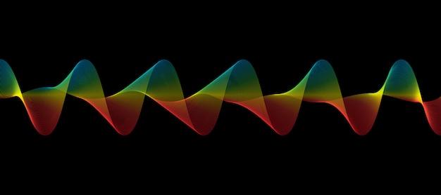 Linhas de onda colorida abstrata fluindo isoladas no fundo preto