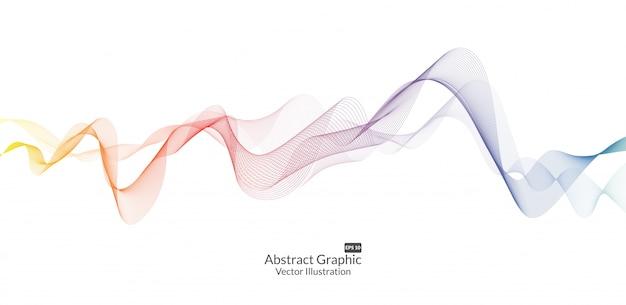 Linhas de onda colorida abstrata isoladas no fundo branco