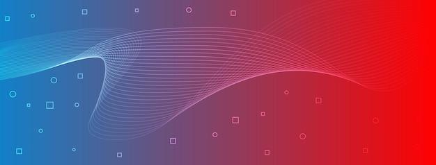 Linhas de onda elegantes e modernas, curvas, círculos abstratos, quadrados, azul, vermelho