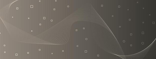 Linhas de onda elegantes e modernas, curvas, círculos abstratos, quadrados, bronze, cinza, taupe