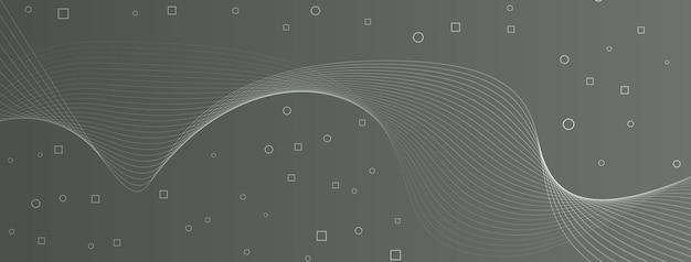 Linhas de onda elegantes e modernas, curvas, círculos abstratos, quadrados, cinza, cinza