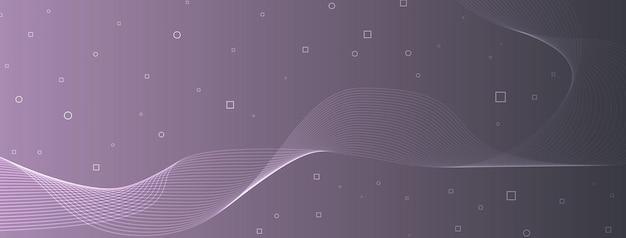Linhas de onda elegantes e modernas, curvas, círculos abstratos, quadrados, frio, cinza, roxo, neblina