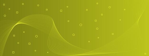 Linhas de onda elegantes e modernas, curvas, círculos abstratos, quadrados, verde oliva, chartreuse