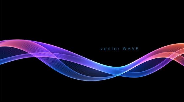 Linhas de onda fluida coloridas abstratas de vetor isoladas em elemento de design de fundo preto