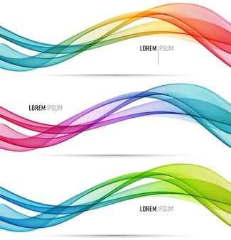Linhas de onda fluidas coloridas abstratas de vetor isoladas no elemento de design de fundo branco
