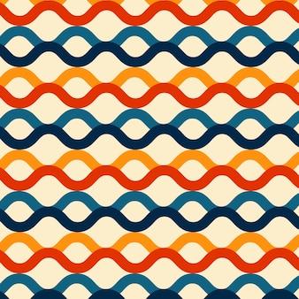 Linhas de onda padrão sem costura cor retrô