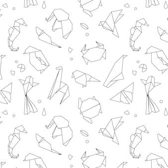 Linhas de padrão de origami de animais