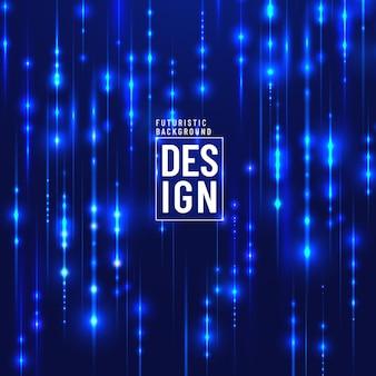 Linhas de partículas de magia azul futurista abstrata tecnologia cintilante glitter em fundo escuro.