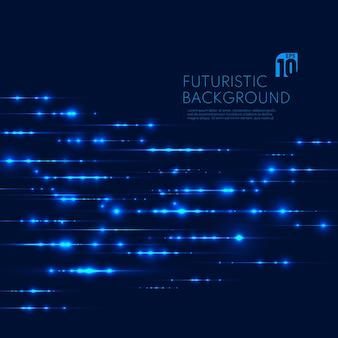 Linhas de partículas mágicas de tecnologia futurista azul brilho cintilante em fundo escuro.