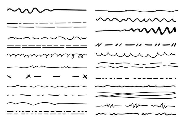 Linhas de pincel hachuradas com pinceladas com textura de lápis bordas de marcador de rabisco sublinhado de esboço
