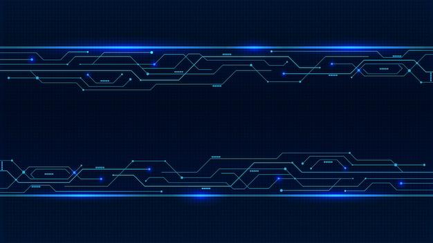 Linhas de placa de circuito de néon azul brilhante de fundo