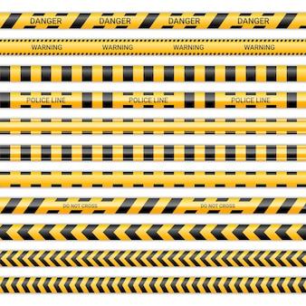 Linhas de polícia e não cruze as fitas. fitas de advertência e perigo em amarelo e preto. coleção de sinais de aviso isolada no fundo branco. ilustração vetorial. Vetor Premium