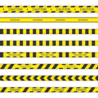 Linhas de polícia e não cruze as fitas. fitas de advertência e perigo em amarelo e preto. coleção de sinais de aviso isolada no fundo branco. ilustração vetorial.