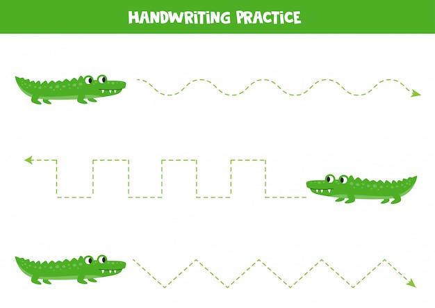 Linhas de rastreamento com crocodilos verdes. animais da africa.