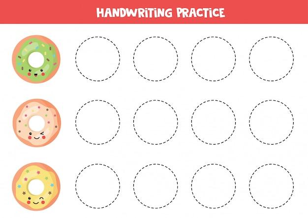 Linhas de rastreamento com donuts kawaii bonito. jogo educativo.