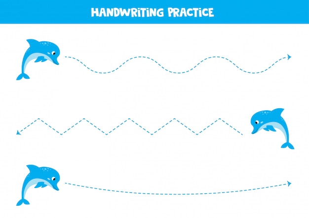 Linhas de rastreamento com golfinhos azuis. jogo educativo para crianças.