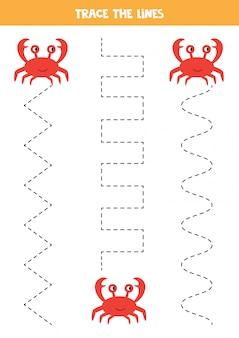Linhas de rastreamento de caranguejo. prática de caligrafia com animais marinhos.
