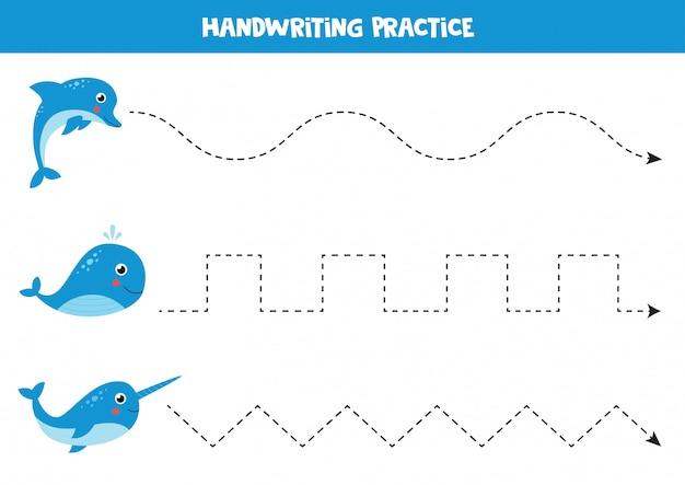 Linhas de rastreamento para crianças. prática de escrita com narval dos desenhos animados, baleia e golfinho.