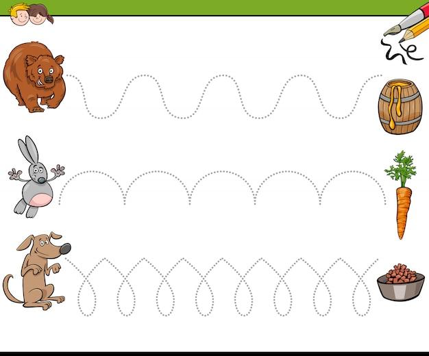 Linhas de rastreamento que escrevem livro de habilidades para crianças