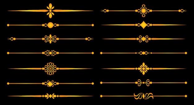Linhas de regra de ouro e ornamentos - conjunto para design elegante, separadores de elementos decorativos